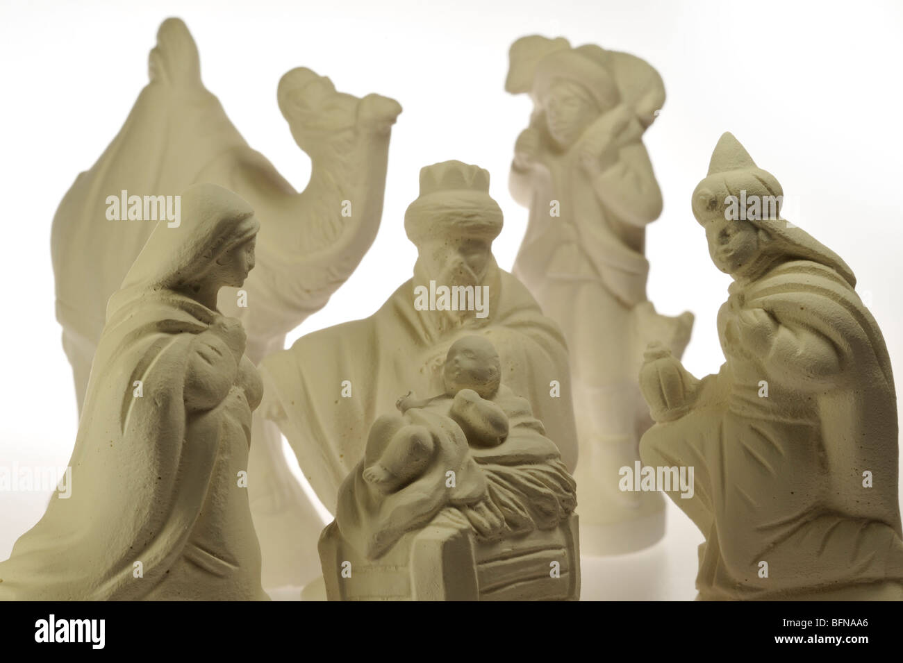 Christmas nativity sculptures showing Jesus and the Virgin Mary - Stock Image