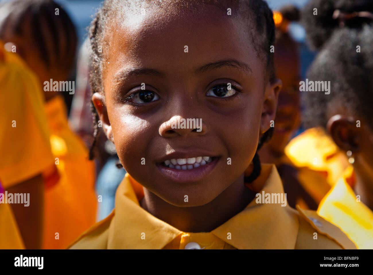Young girl from Antigua dressed in Girl Guides outfit, celebrating Independence Day - Stock Image