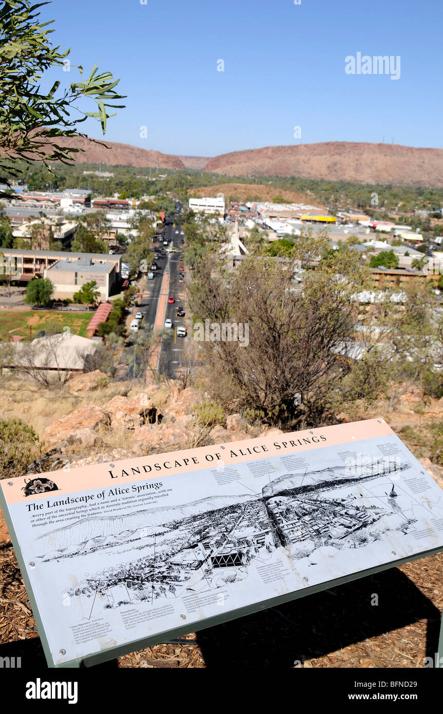 A visitors map showing the surrounding area of Alice Springs from ANZAC hill, Australia - Stock Image