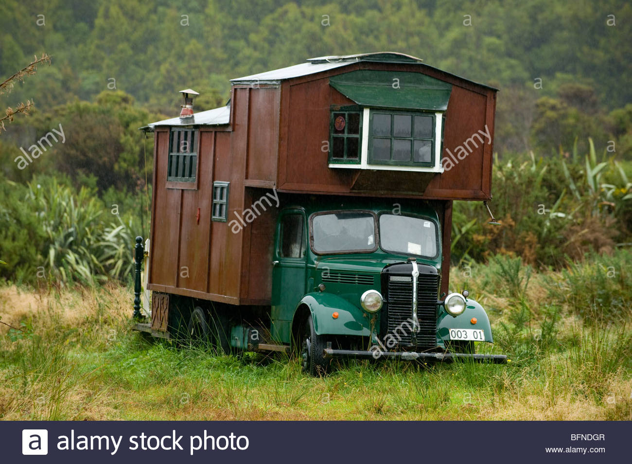 A Kiwi version of a motor home called a house bus. Stock Photo