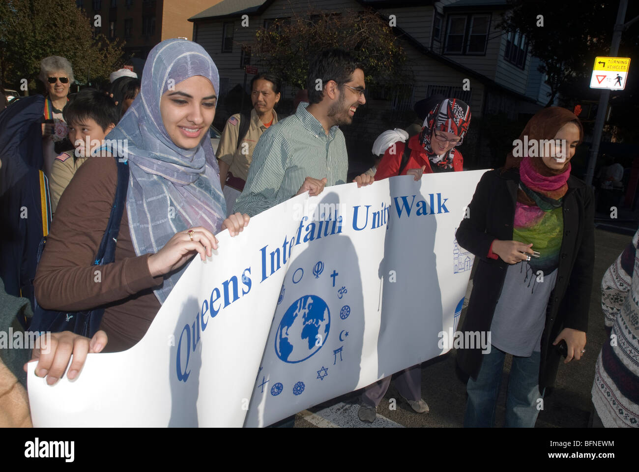 Members of religious congregations in Flushing, Queens in New York during the Queens Interfaith Unity Walk - Stock Image