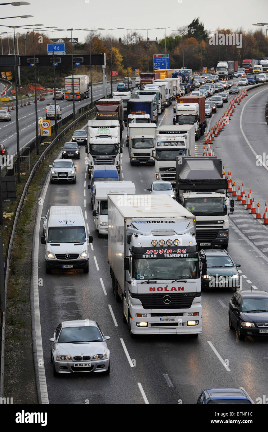 Traffic congestion at M6 motorway junction with the M54 - Stock Image