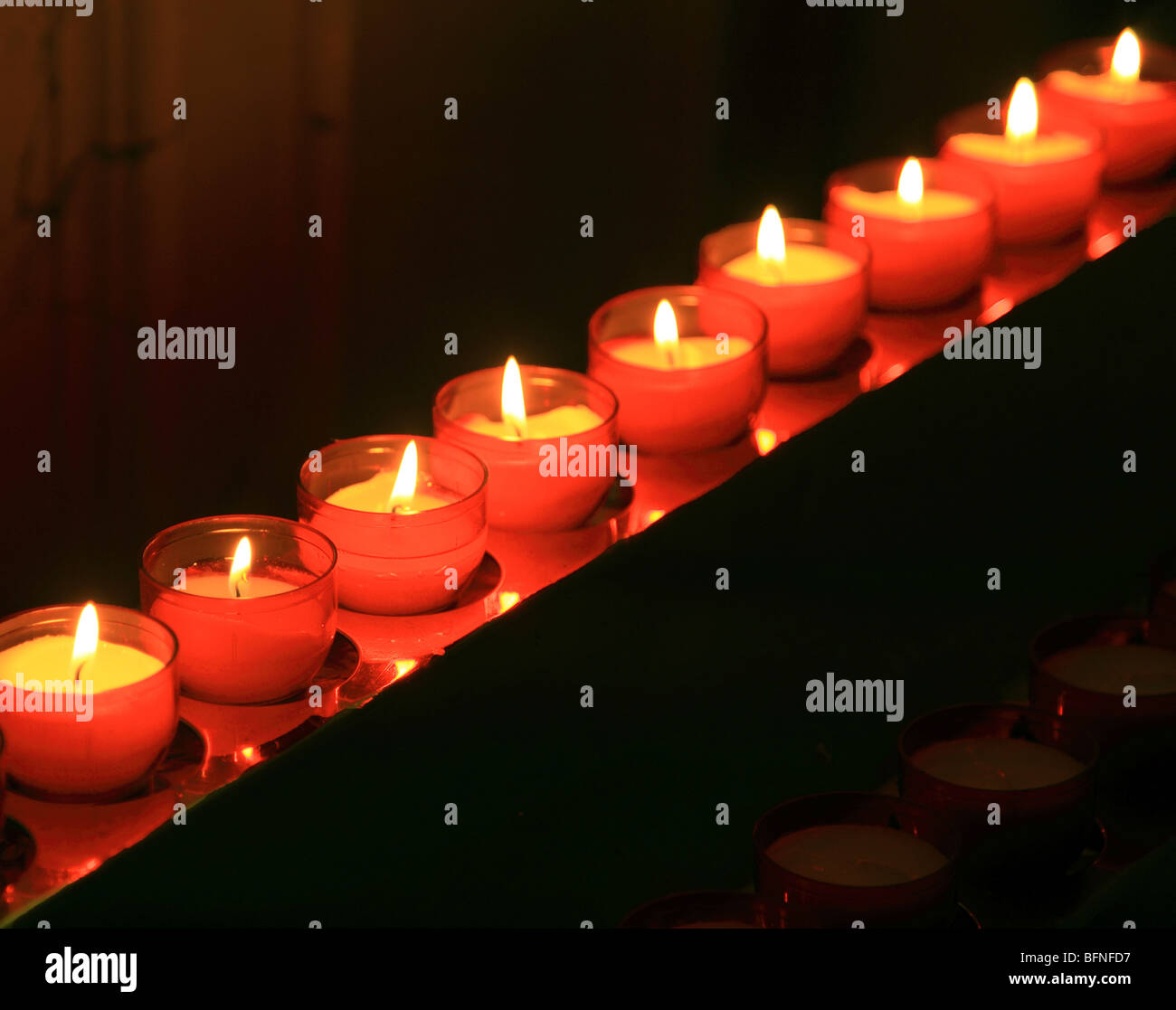 Church Candles in a Row - Stock Image