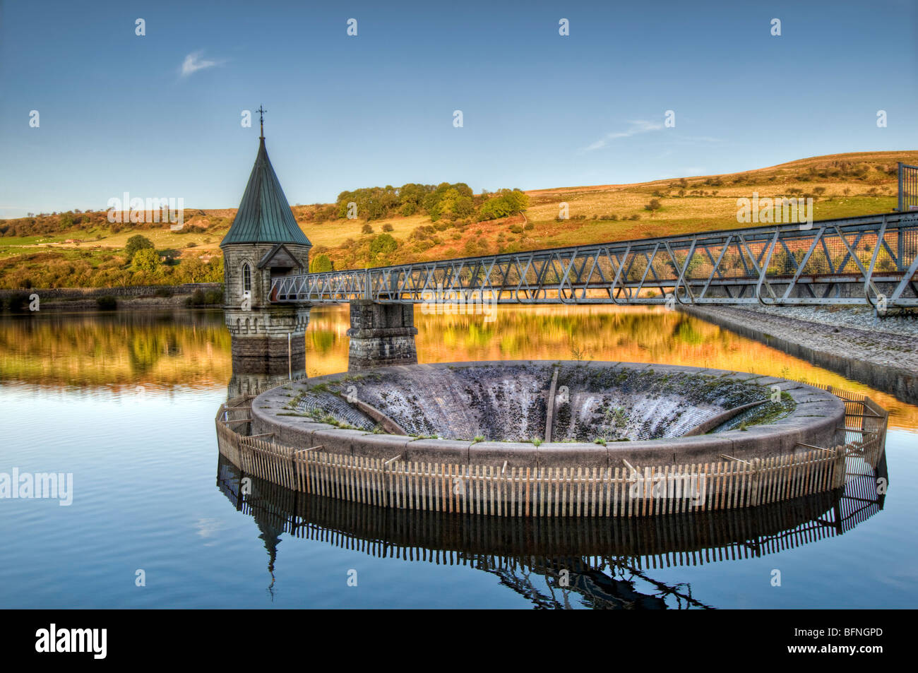 HDR image of Pontsticill Reservoir (also known as Dolygaer Lake) Brecon Beacons in Mid-Wales early evening with Stock Photo