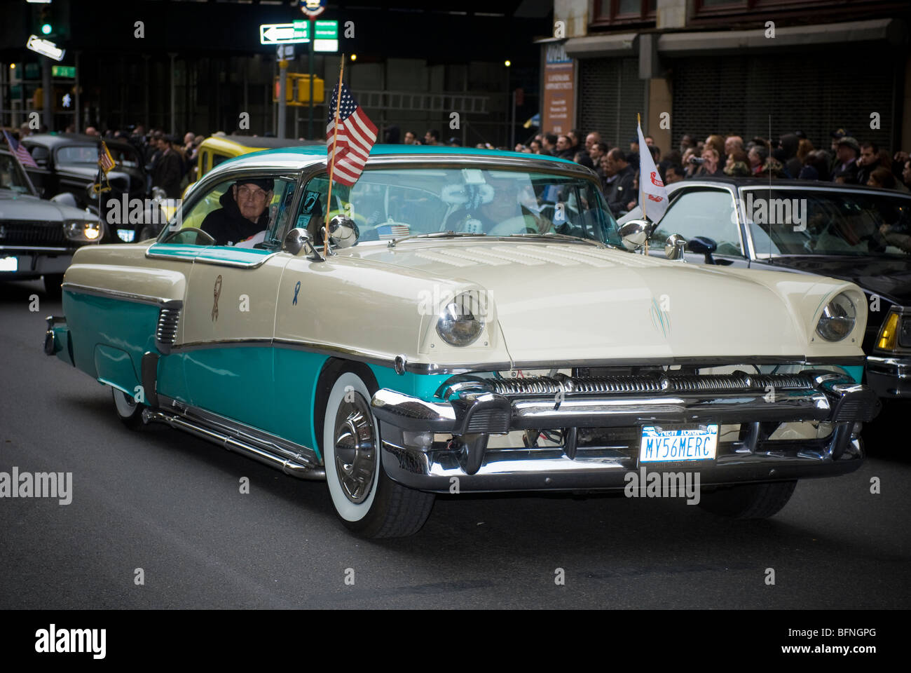 1956 ford mercury classic car in the 91st annual veterans day parade in new york