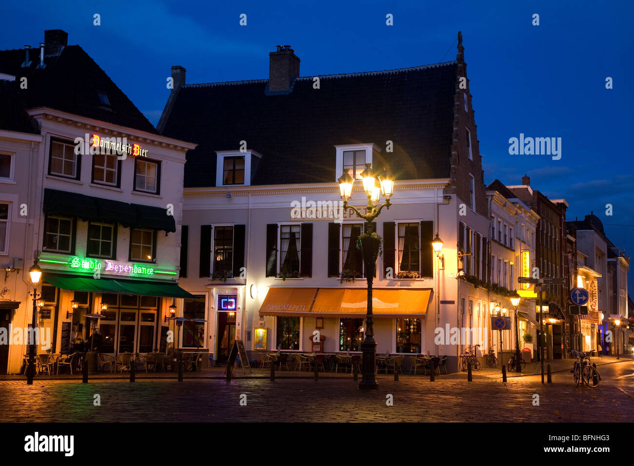 Breda at night. The city has numerous pubs, bars and restaurants and is known for its lively and hospitable nightlife. Stock Photo