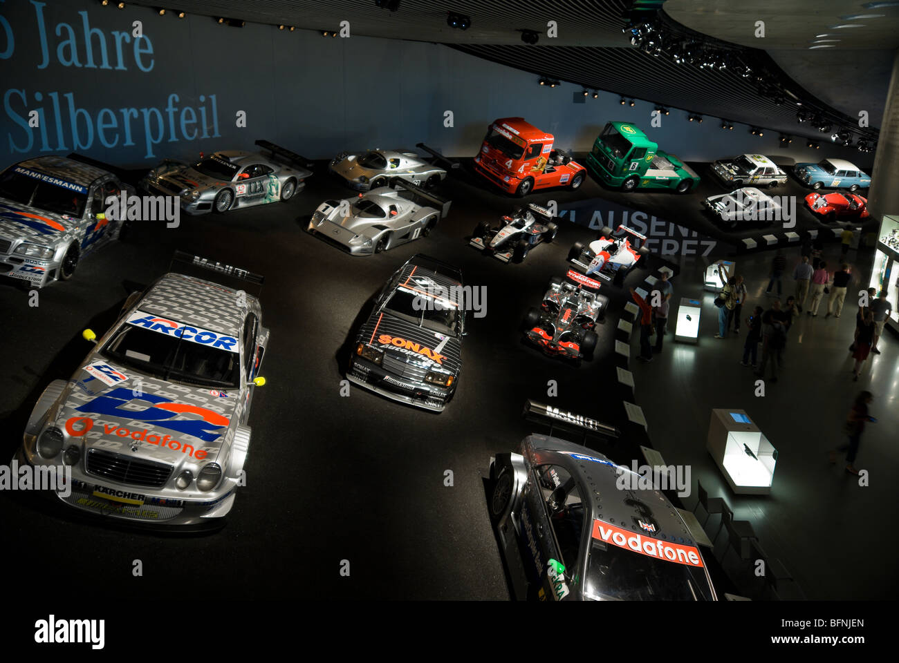 Mercedes cars on display in the Mercedes museum. Stuttgart, Germany - Stock Image