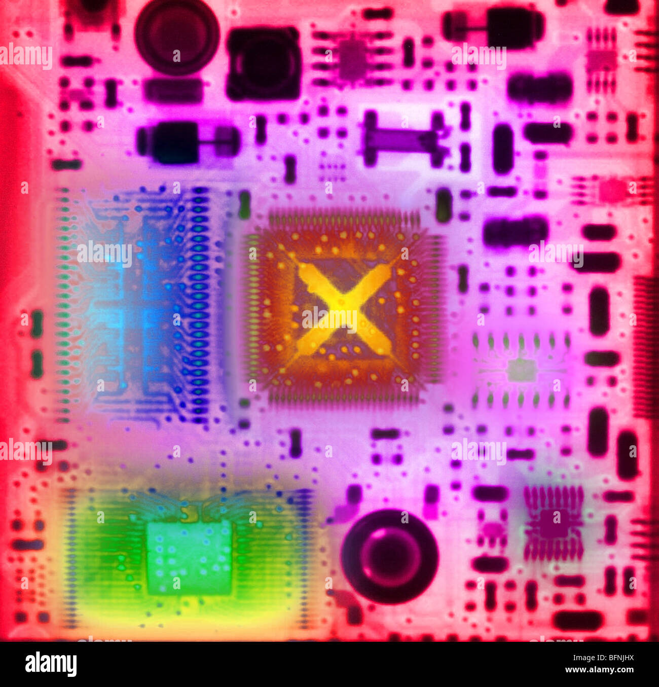 color enhanced computer chip - Stock Image