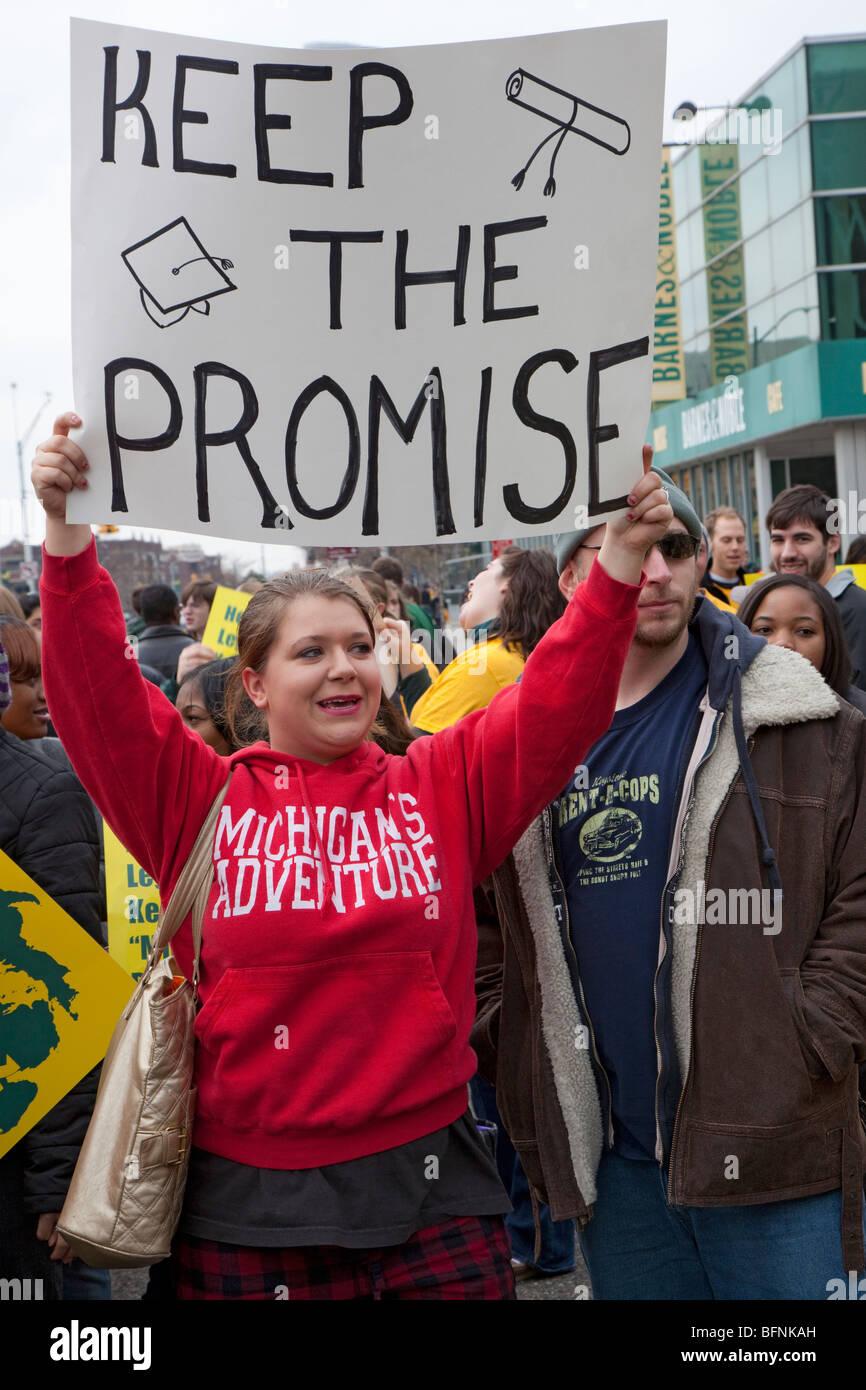 University Students Protest Elimination of Michigan Promise Scholarship - Stock Image