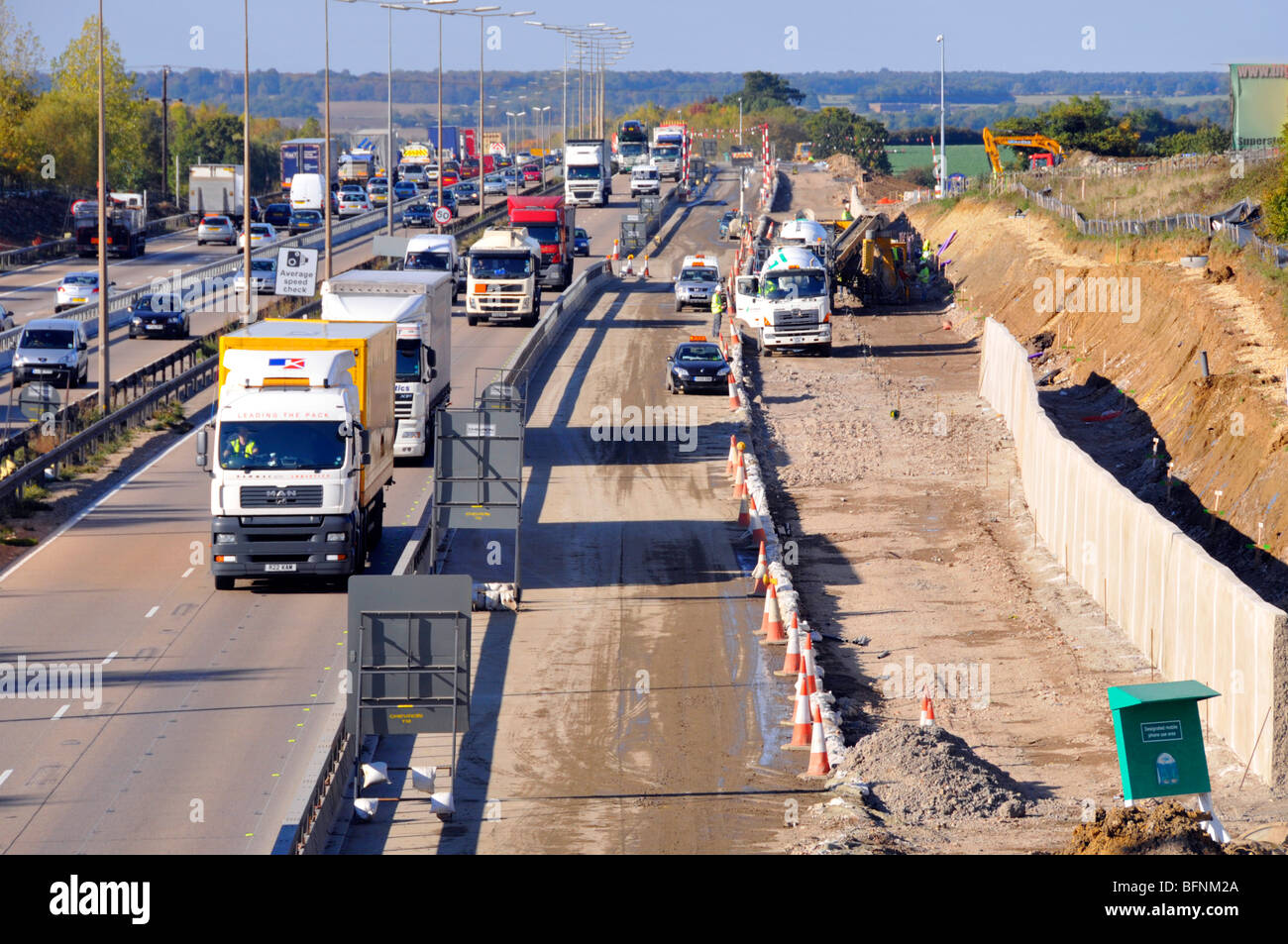 M25 motorway road widening construction project   construction - Stock Image