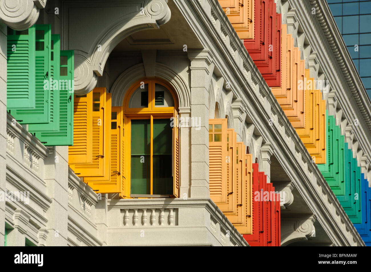 Multi-Colored or Coloured Painted Shutters, MICA Building (Ministry of Information, Communications & the Arts), - Stock Image