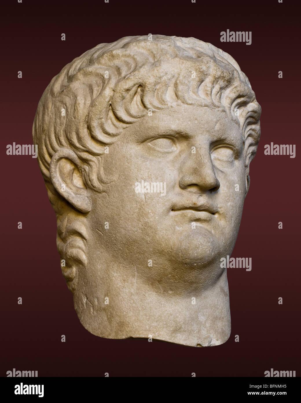 Portait head of the Roman emperor Nero in the Munich Glyptothek, ca. 60. - Stock Image