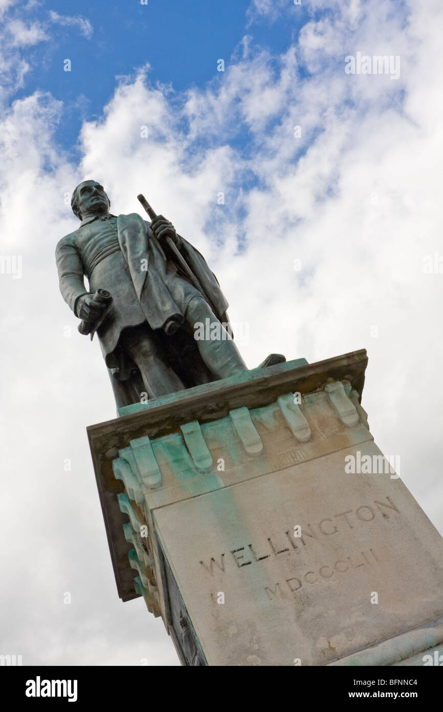 Statue of Arthur Wellesley, 1st Duke of Wellington, in Brecon town centre - Stock Image