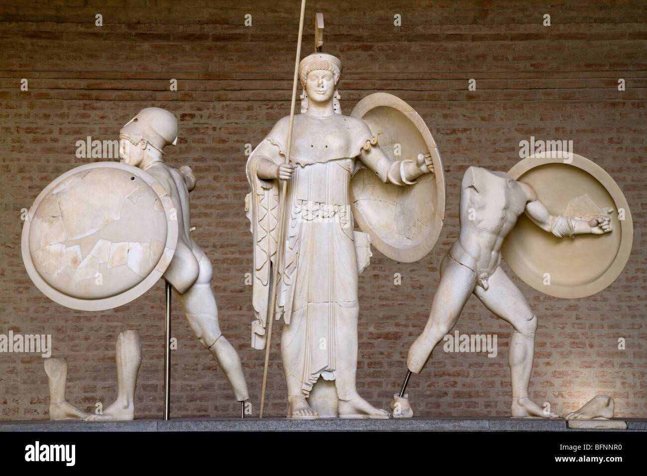 Detail of Athena and warriors from the east pediment of the temple of Aphaia at Aegina, ca. 480 BC. - Stock Image