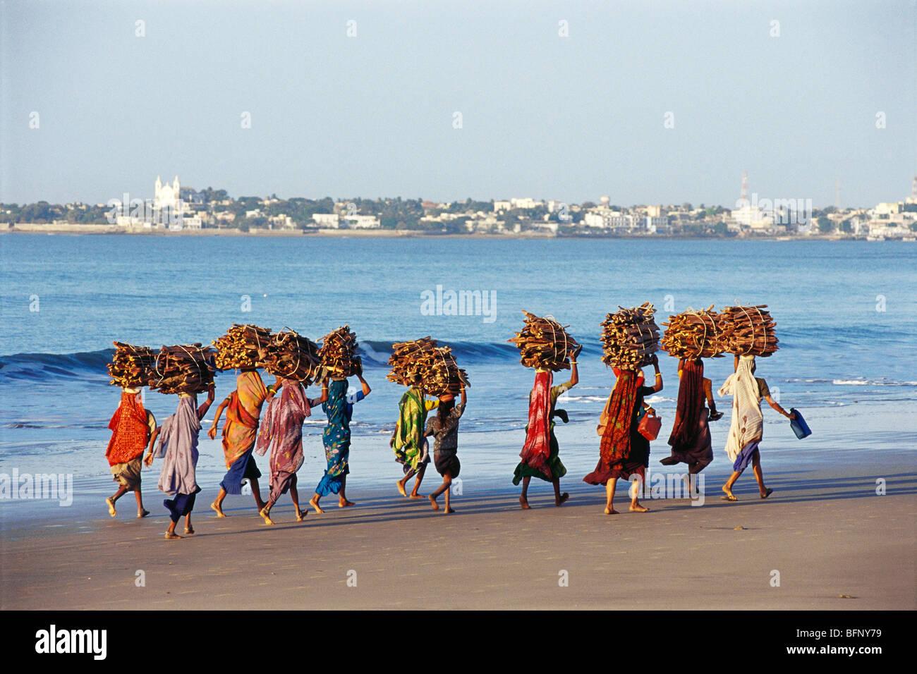 Fisherwoman at Ahmedpur Mandvi Diu UT India - Stock Image