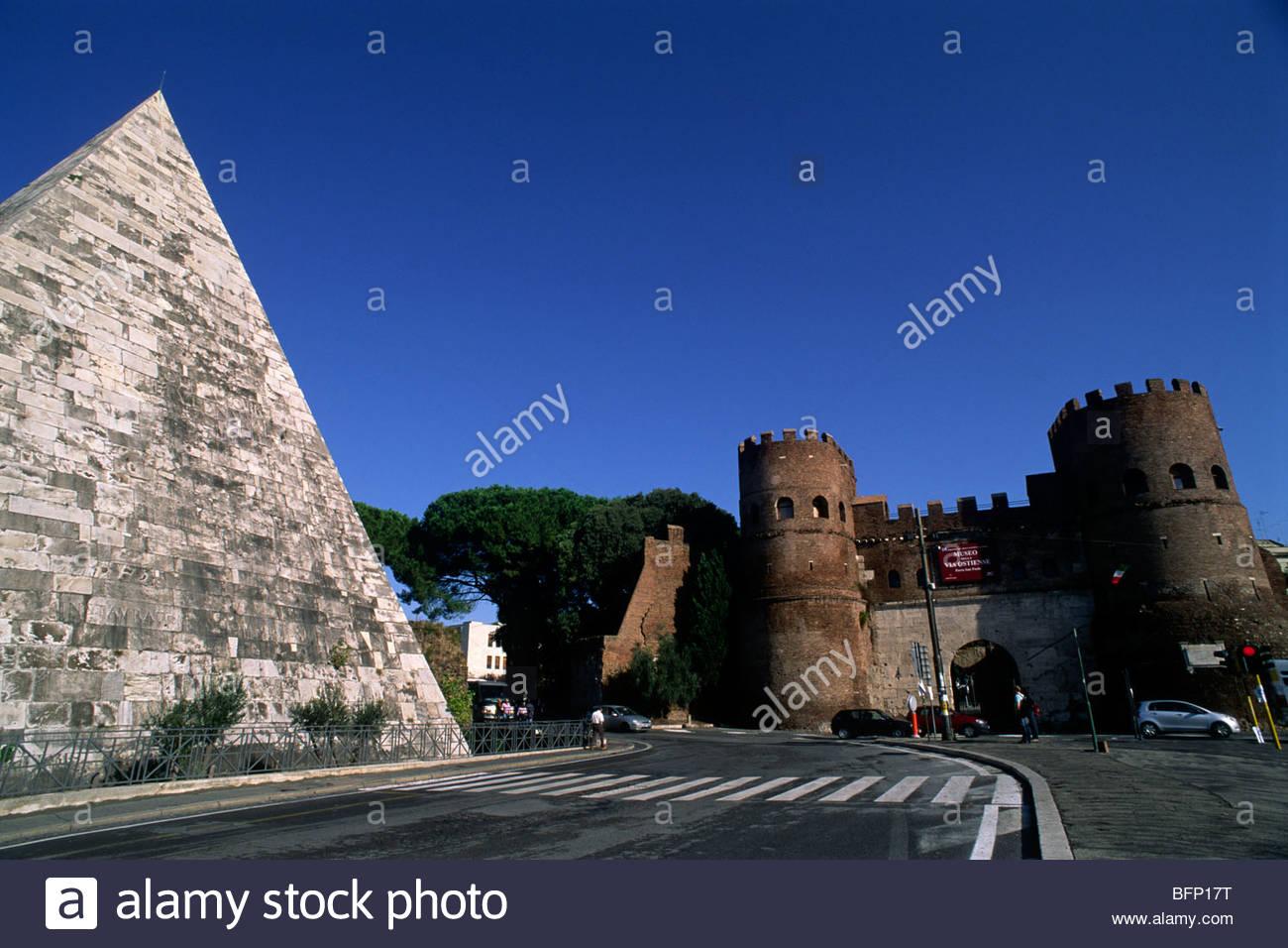 italy, rome, pyramid of caio cestio and porta san paolo Stock Photo
