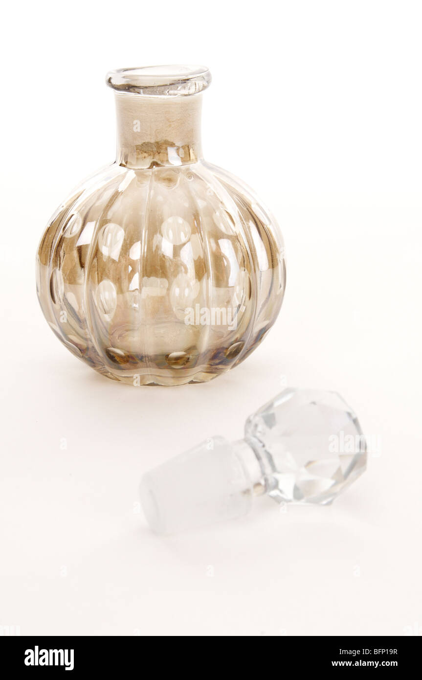 Ornate Glass Perfume Bottle with Glass Stopper - Stock Image