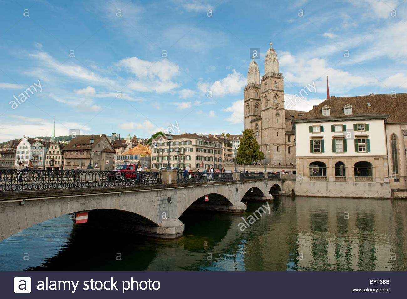 Bridge over the Limmat River in Zurich - Stock Image