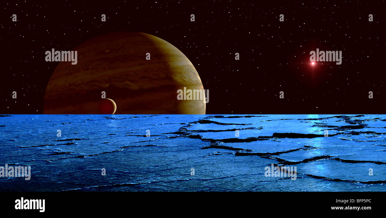 Jupiter and its moon Lo as seen from the frozen surface of Jupiter's moon Europa. - Stock Image
