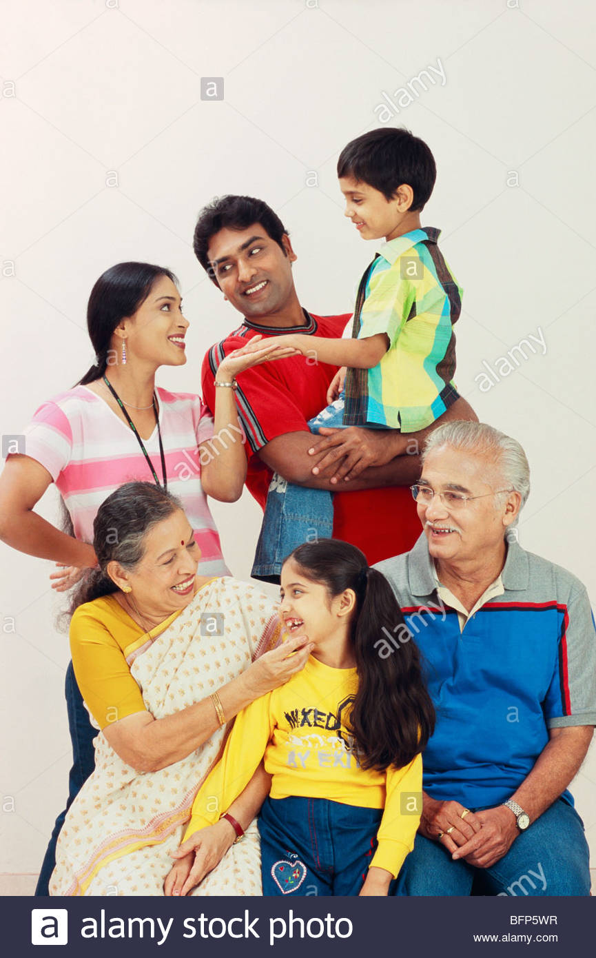 MAK 63910 : Indian Joint families 3 three generations 6 six persons MR#605;606;618;619;620;621 - Stock Image