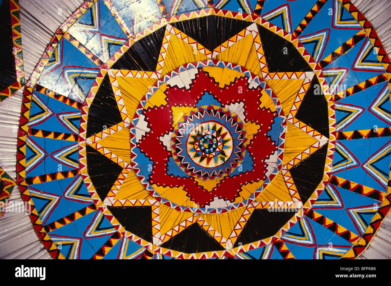 Painted ceiling of Bhunga ; Banni ; Kutch Kachchh ; Gujarat ; India - Stock Image