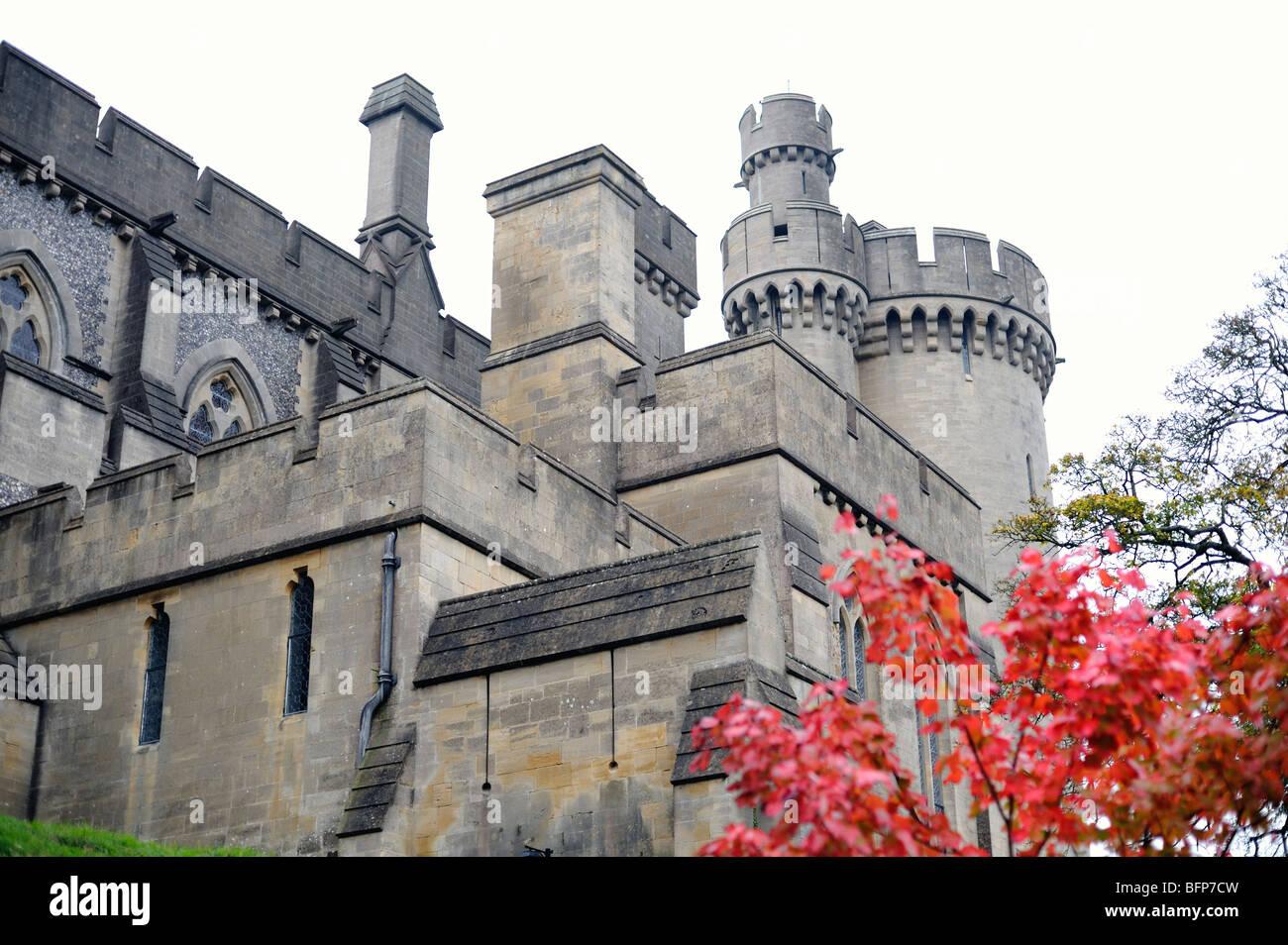 Arundel Castle turrets - Stock Image