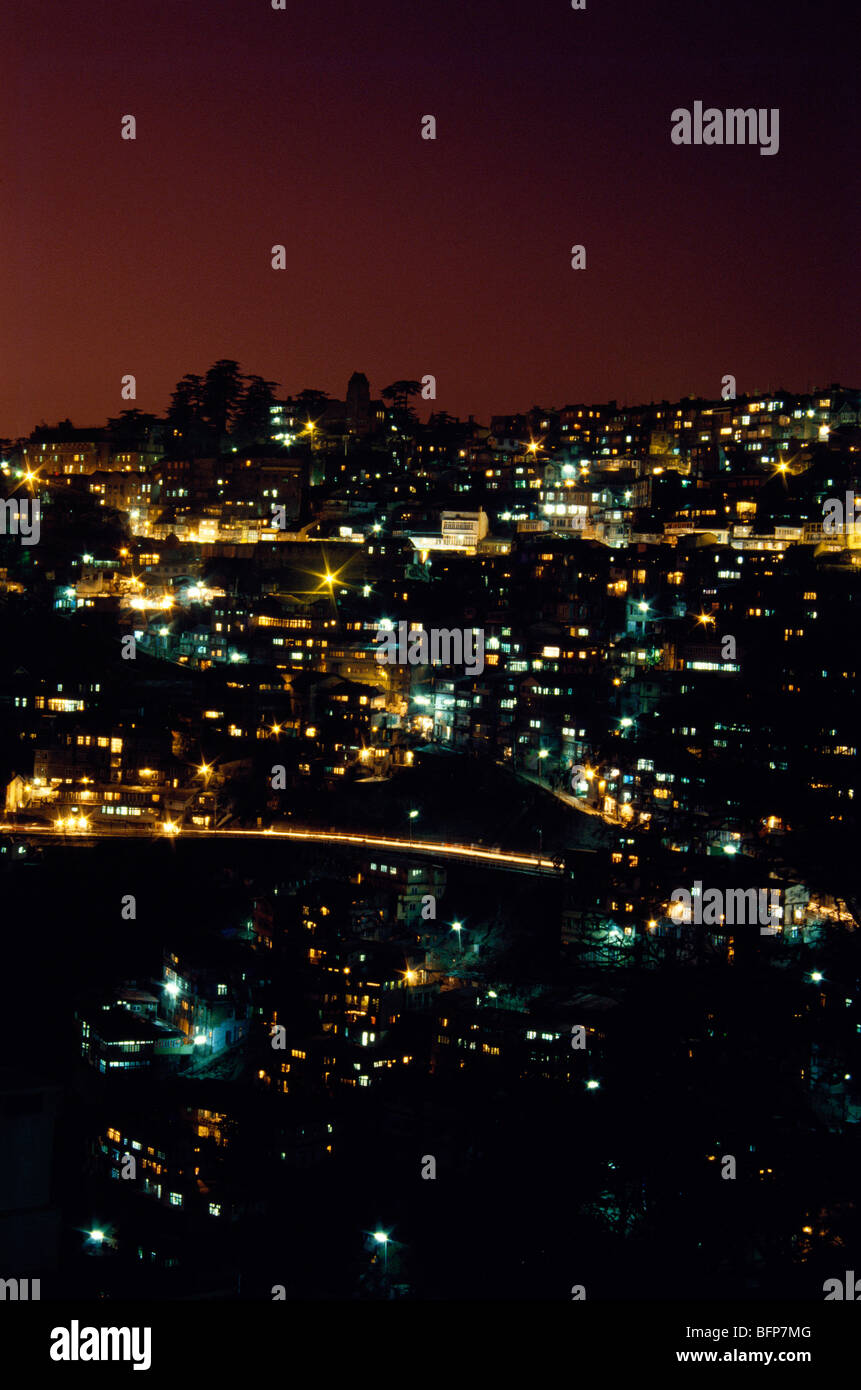 NMK 64890 : Shimla Simla at night ; Himachal Pradesh ; India - Stock Image