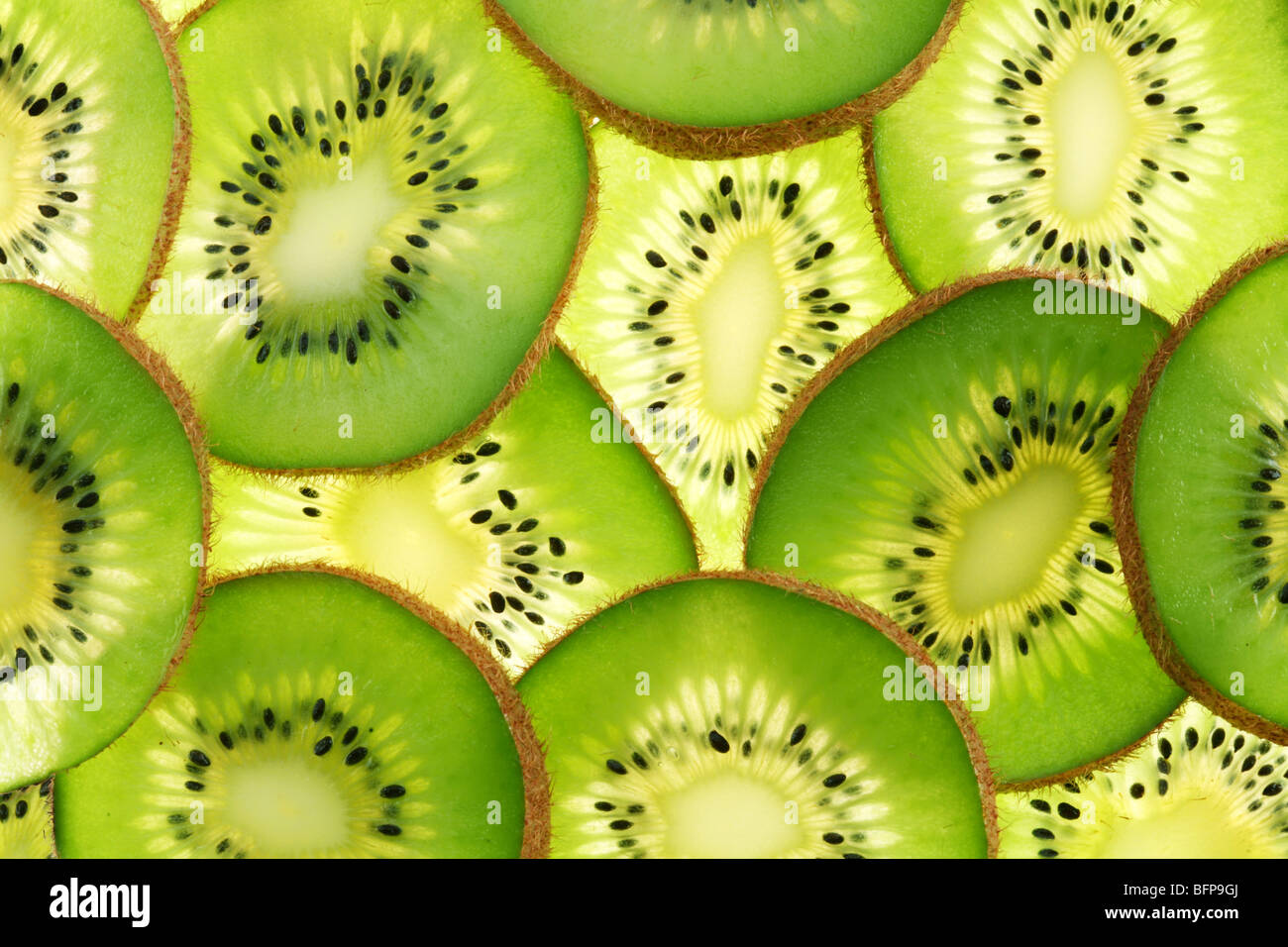 Back projected (lighted) cross sections of kiwi - Stock Image