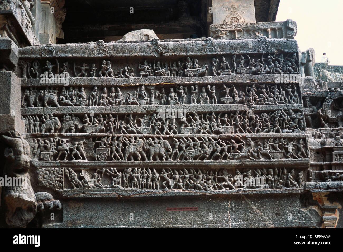 STP 65279 : War scene from Mahabharat ; Ellora cave No16 ; Maharashtra ; India - Stock Image