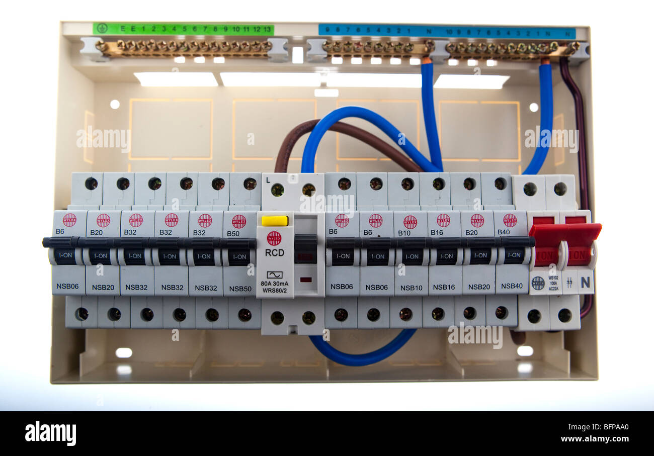 Home Fuse Box Aa Basic Wiring Schematic Consumer Unit Stock Photos Images Alamy Electrical Repair