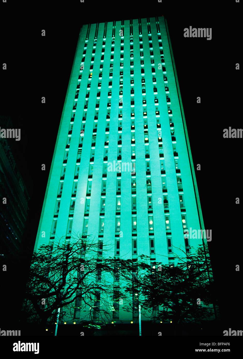 NMK 65433 : Illuminated State Bank of India ADM building ; Bombay Mumbai ; Maharashtra ; India Stock Photo