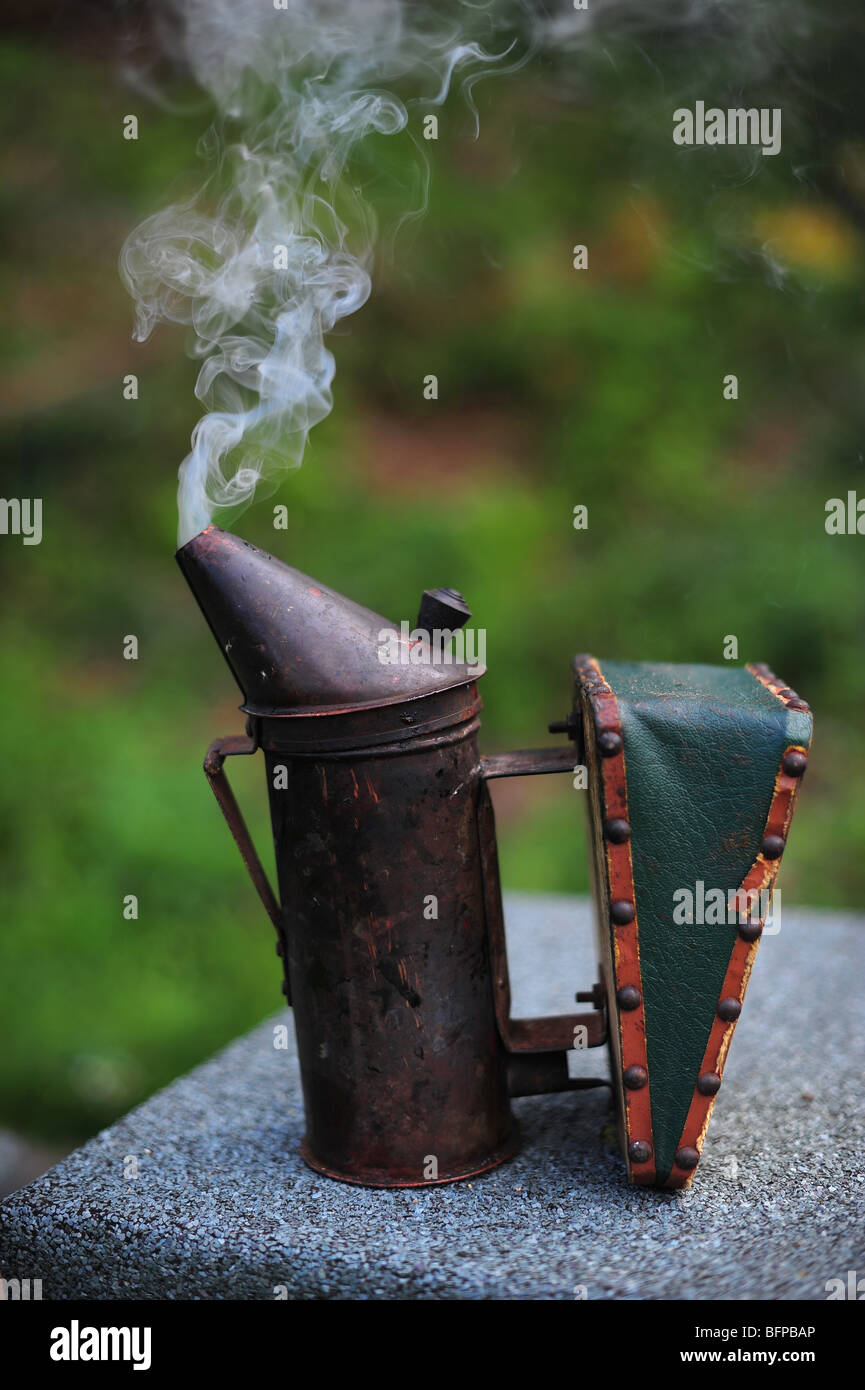 A bee keepers smoker, used to calm bees before opening a hive - Stock Image