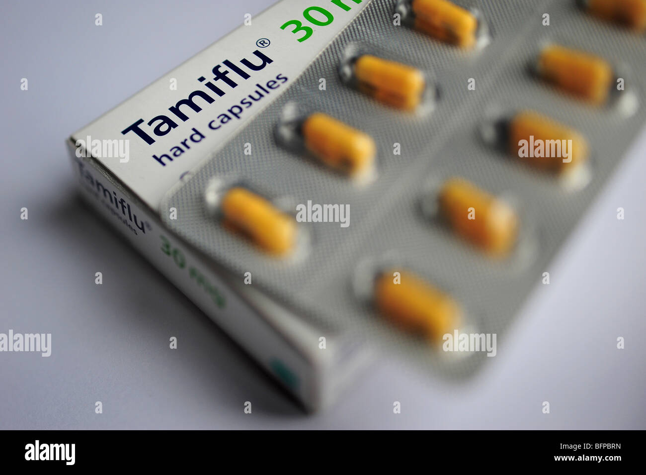 Tamiflu capsule tablets, the drug used to treat swine flu - Stock Image