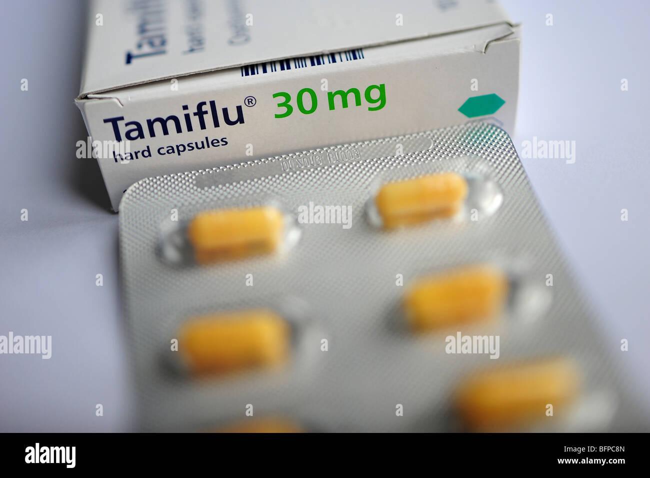 Tamiflu capsule tablets, the drug used to treat swine flu Stock