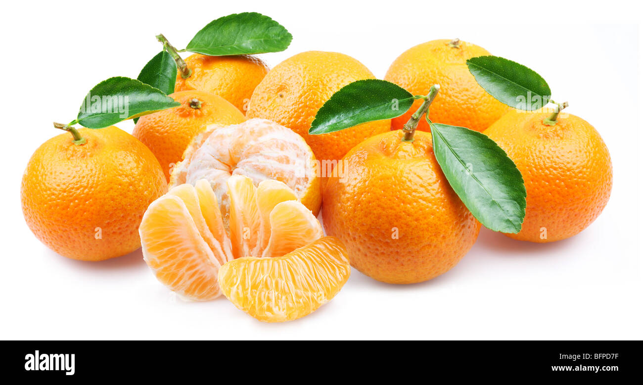 Tangerines with segments on a white background - Stock Image