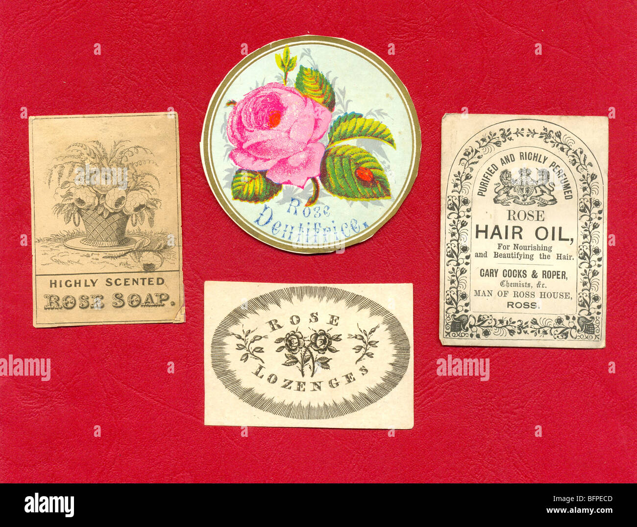 Labels from rose scented cosmetics circa 1840 - Stock Image