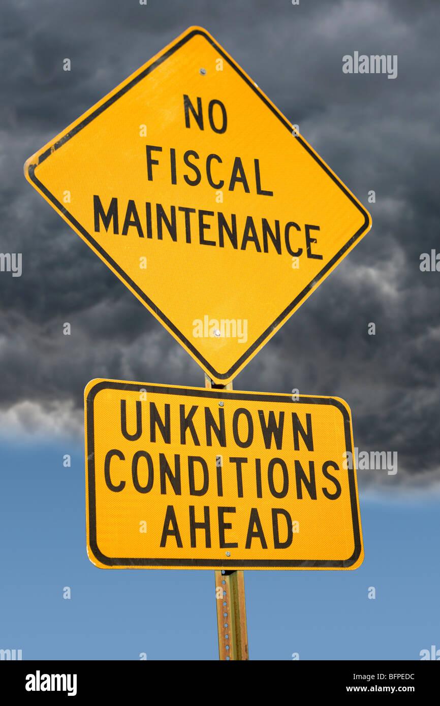 No Maintenance Ahead sign - Stock Image