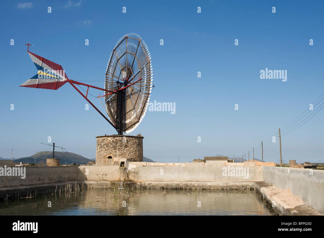 Irrigation windmill on a farm in Mallorca, Majorca, Spain Stock Photo