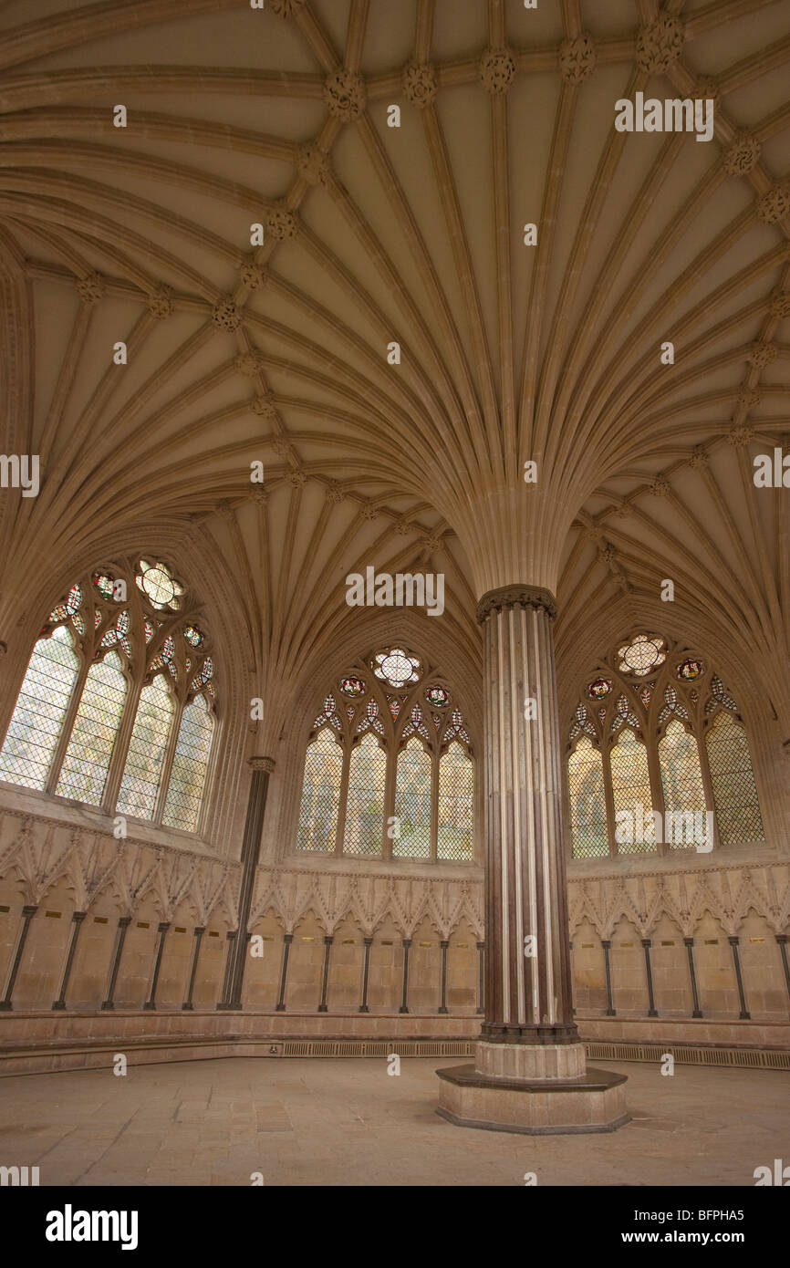 Chapter House interior fan vaulting 14th century Wells Cathedral Somerset England UK United Kingdom GB Great Britain - Stock Image