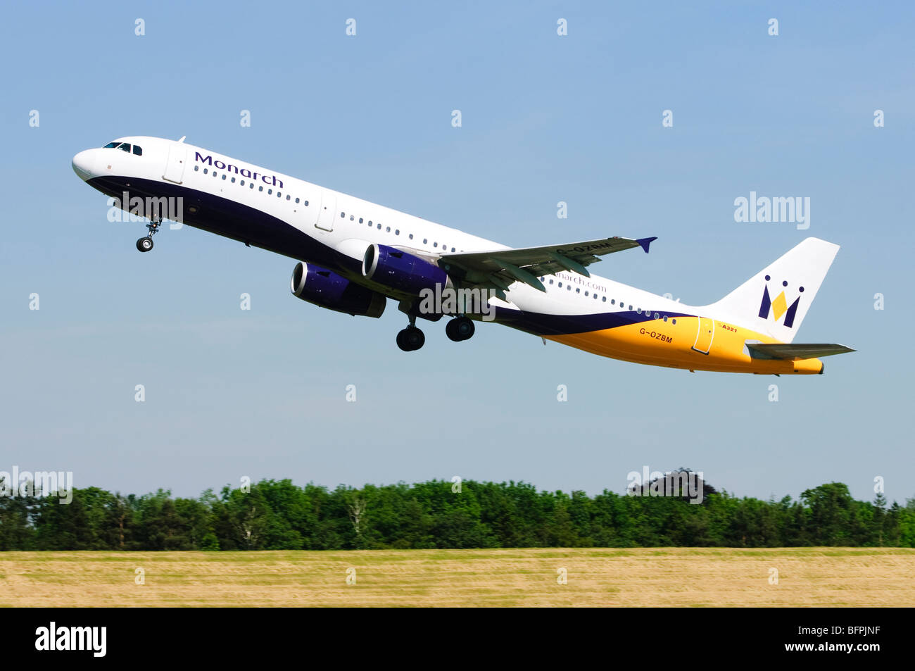 Airbus A321 operated by Monarch Airlines taking off from Birmingham Airport, UK. Stock Photo