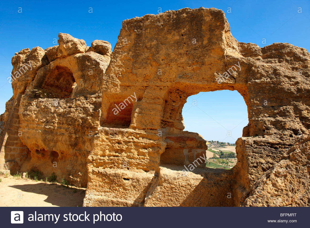 Ancient Greek walls of Agrigento, sicily - Stock Image