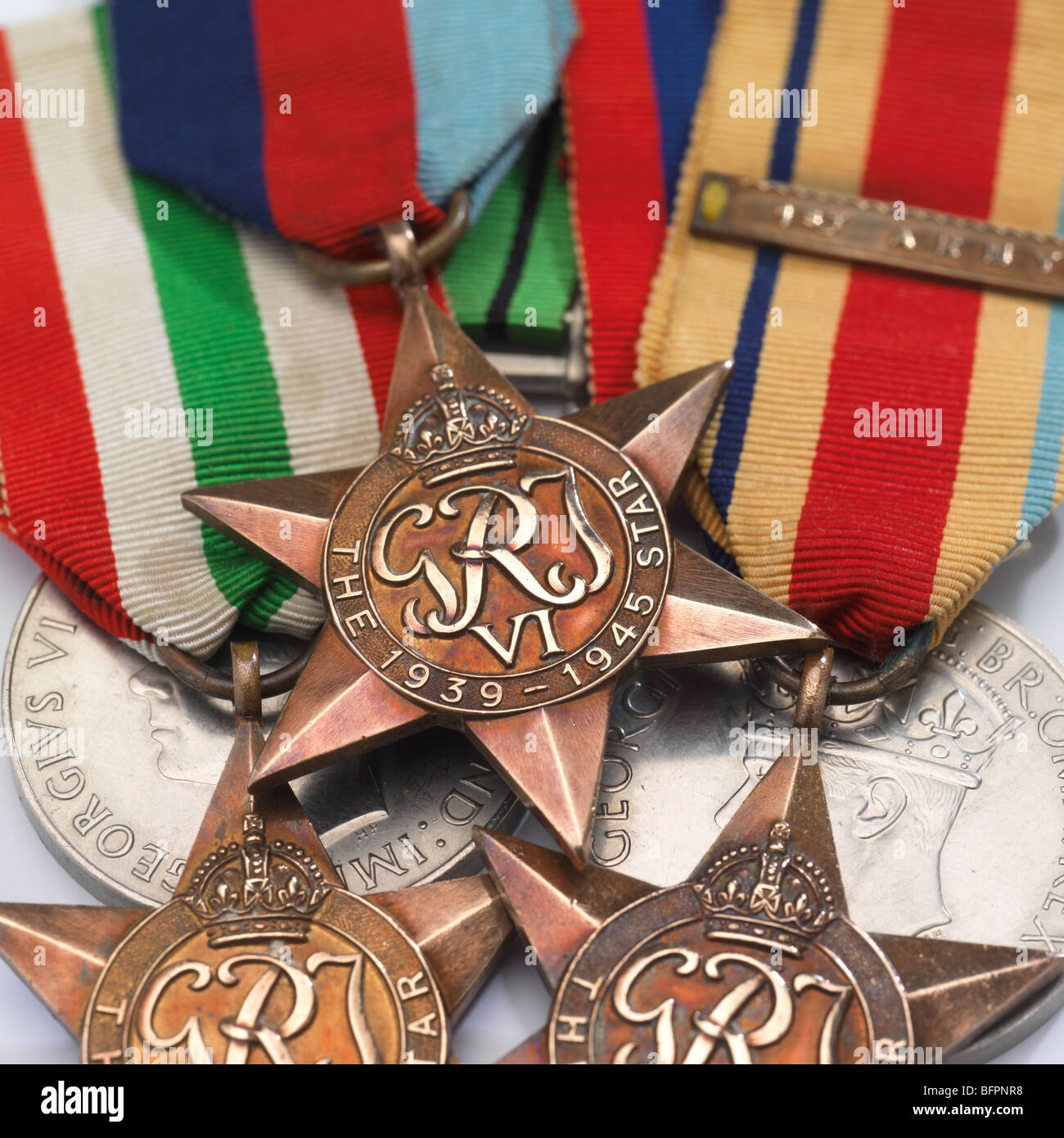 A group of war medals. - Stock Image