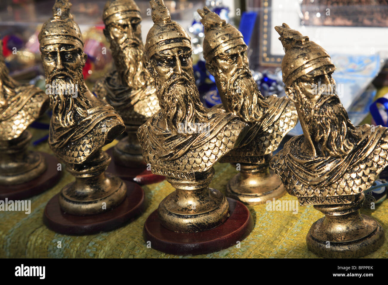 Souvenir busts of Skanderbeg, the national hero of Albania,  on a stall in Kruja, Albania - Stock Image