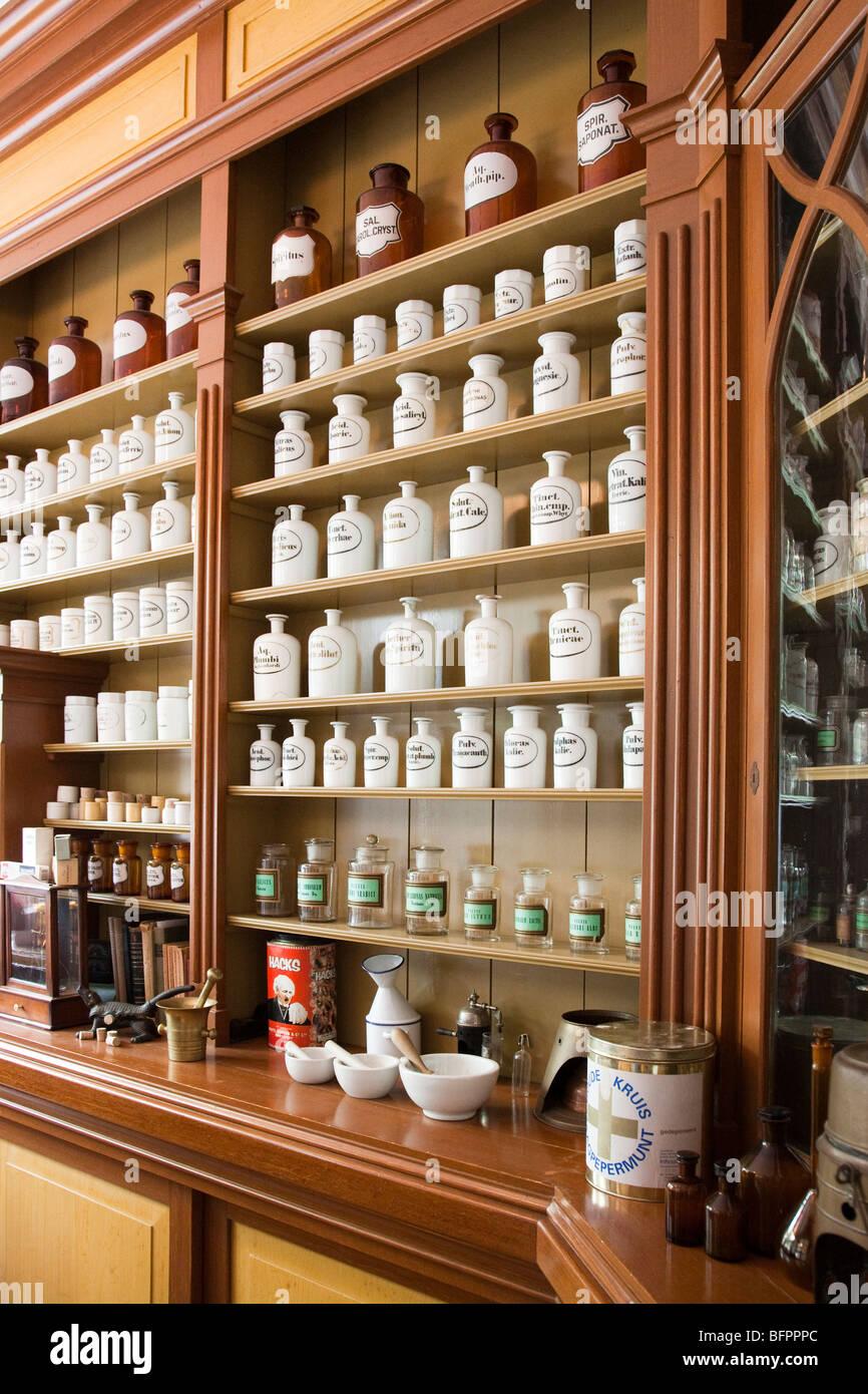 Period apothecary chemist shop at folk museum Zuiderzeemuseum Enkhuizen Netherlands Stock Photo