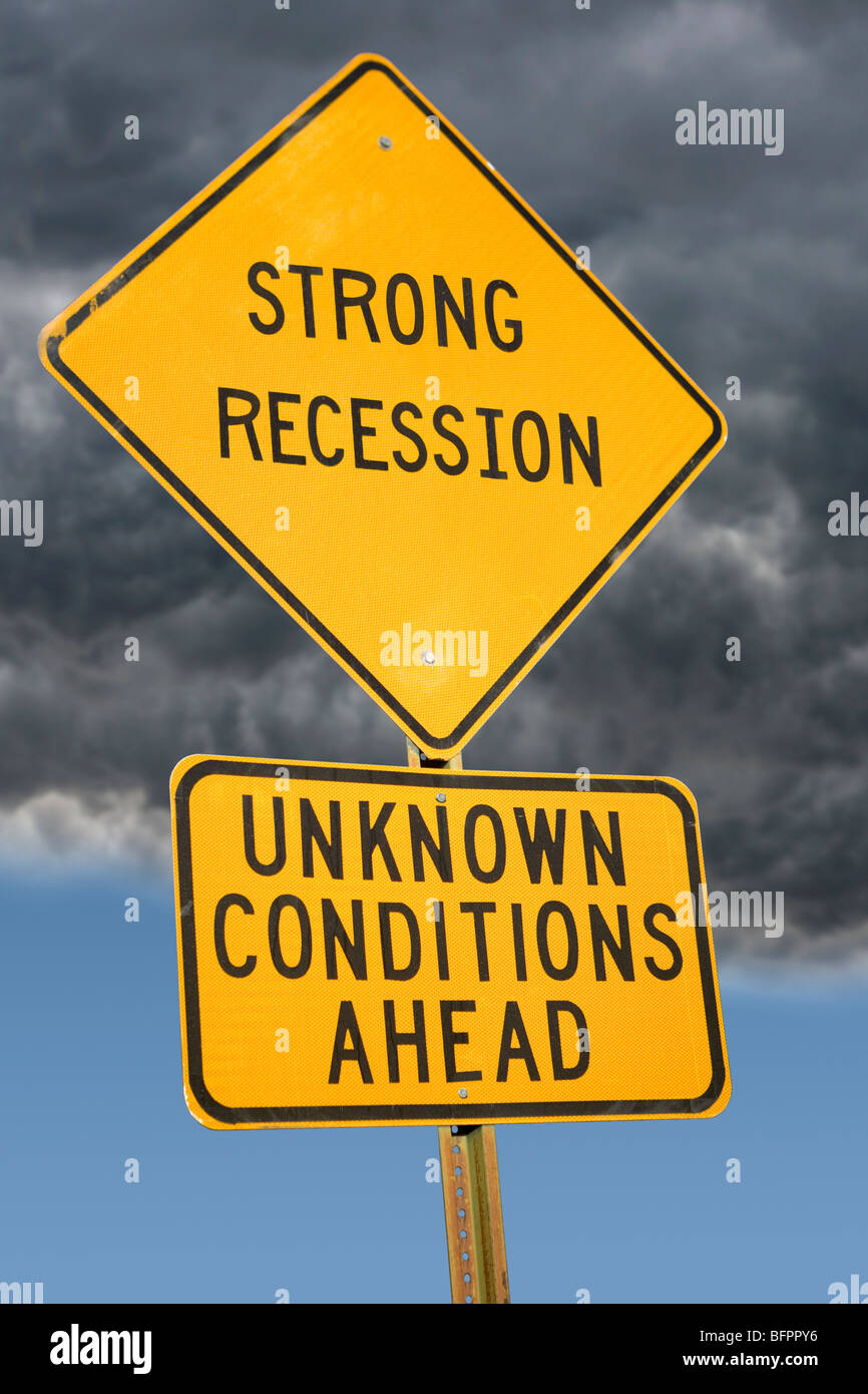Strong Recession Ahead sign Stock Photo