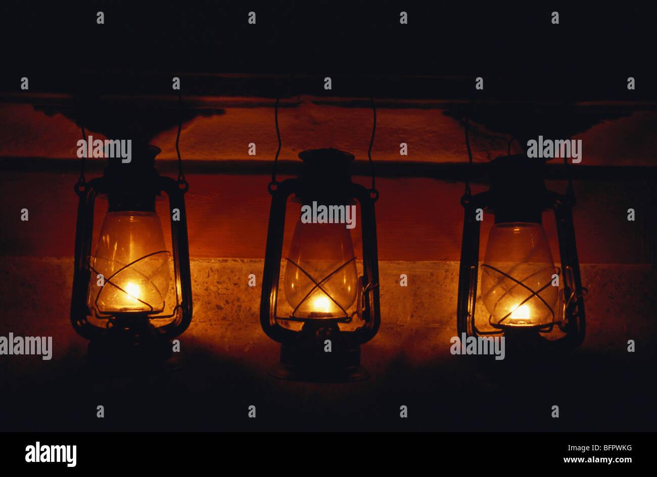 Lanterns ; kerosene oil lamps ; India - Stock Image