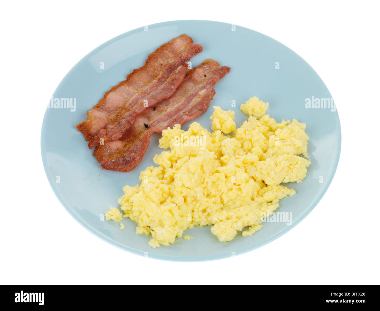 Scrambled Egg with Lean Streaky Bacon - Stock Image