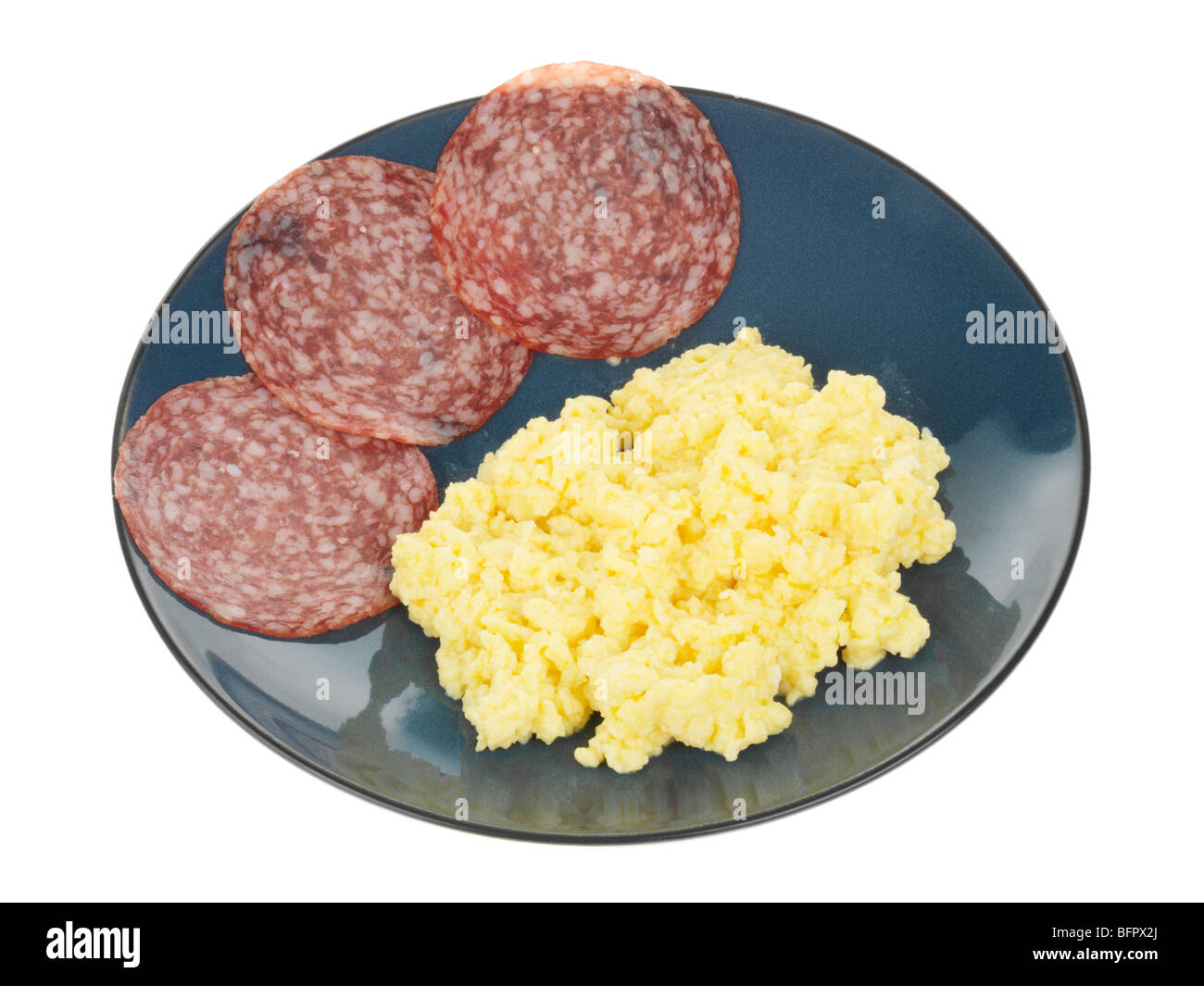 Scrambled Egg with Salami - Stock Image