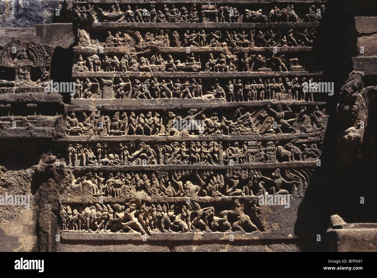 RSC 66575 : Mahabharata scene carved on wall of Kailash temple ; Ellora ; Maharashtra ; India - Stock Image