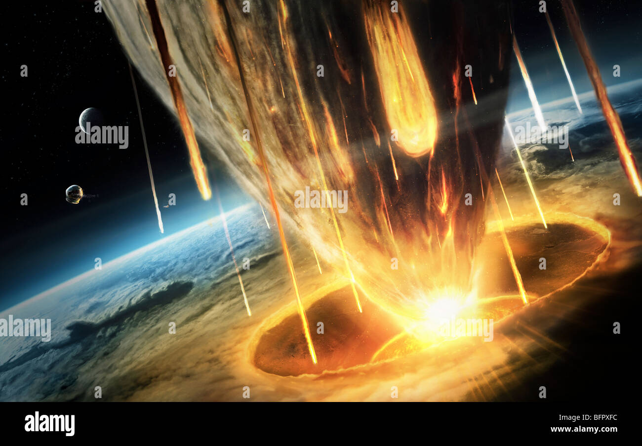 A giant asteroid collides with the earth. - Stock Image
